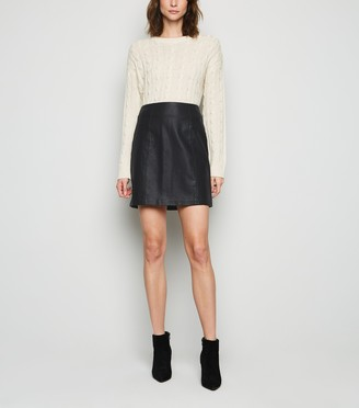 New Look Tall Coated Leather-Look Mini Skirt
