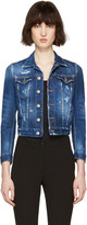 DSQUARED2 Blue Denim Distressed Cropped Jacket