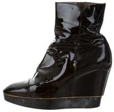 Sergio Rossi Patent Leather Wedge Ankle Boots