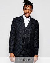 Rogues Of London Exclusive Mini Check Suit Jacket In Skinny Fit