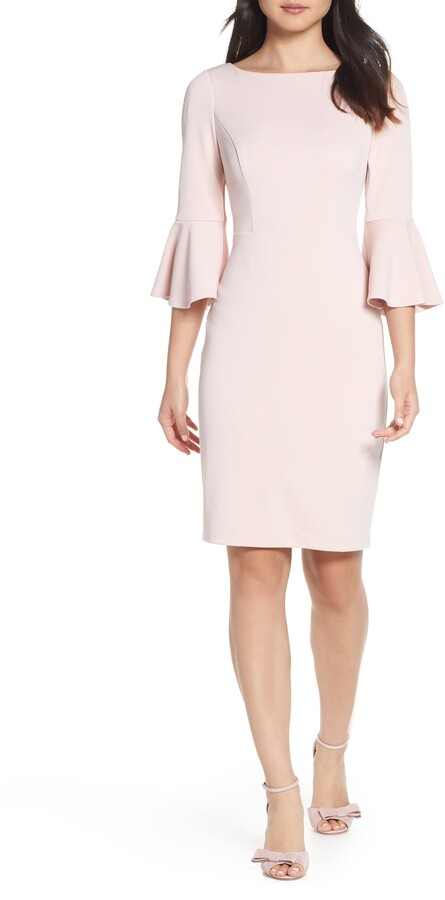 Harper Rose Bell Sleeve Bateau Neck Sheath Dress