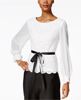 Alex Evenings Petite Lace Illusion-Sleeve Blouse