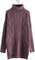 Futurino Women's Warm Cable Diamond Knit Turtleneck Long Pullover Sweaters Top