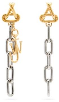 J.W.Anderson Logo-charm Oval-link Drop Earrings - Silver Multi