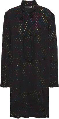 Love Moschino Pussy-bow Metallic Fil Coupe Chiffon Mini Dress
