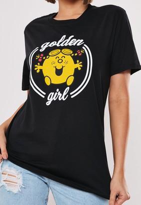 Missguided Black Golden Girl Graphic T Shirt
