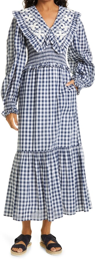 Thumbnail for your product : Sea Gina Gingham Smock Long Sleeve Cotton Dress