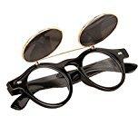 TONSEE Flip up Cyber Steampunk Round Circle Retro Sunglasses (B)
