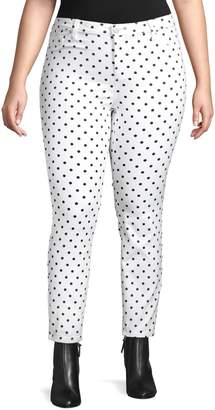 Design Lab Plus Skinny-Fit Printed Jeans