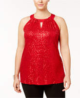 INC International Concepts Plus Size Sequined Halter Top, Created for Macy's