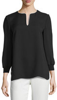 Lafayette 148 New York Kelsey Contrast-Trim Blouse, Black