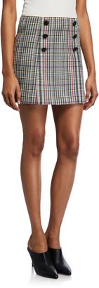 Veronica Beard Starck Double-Breasted Plaid Mini Skirt