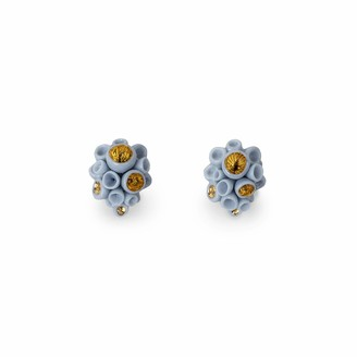Lladro Golden Blue Reef Stud Earrings. Porcelain Pendant.