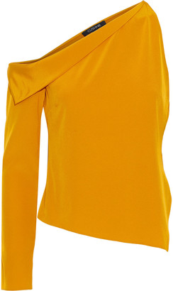 Cushnie One-sleeve Draped Silk Crepe De Chine Top