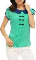Allegra K Women Doll Collar Bowknot Decor Petal Sleeves Chiffon Blouse L