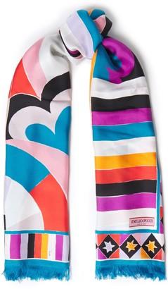 Emilio Pucci Fringed Printed Silk-twill Scarf
