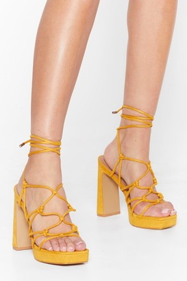 Nasty Gal Womens Let the Light in Lace-Up Platform Heels - Mustard