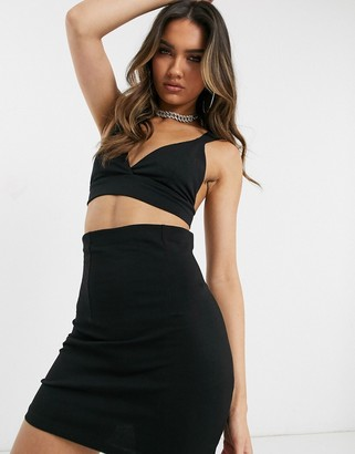 Asos DESIGN two-piece bralette with strap details in black