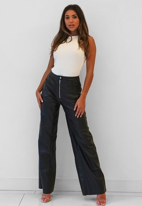Missguided Black Faux Leather Wide Leg Trousers
