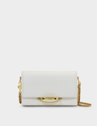 Alexander McQueen The Story Crossbody Bag in White Smooth Leather