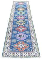 """Blue Area One-of-a-Kind Cutchogue Southwestern Hand-Knotted Runner 2'7"""" x 10'1 Rug Isabelline"""