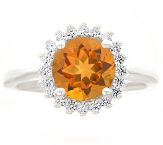 14K White Gold Round Gemstone Halo Ring