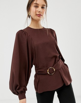 Asos Design DESIGN oversized long sleeve top with belt detail-Brown