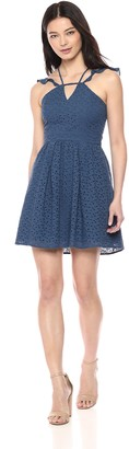 BCBGeneration Women's Flutter Sleeve FIT & Flare Dress