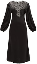 Christopher Kane Lace-bodice Balloon-sleeve Satin Dress - Womens - Black