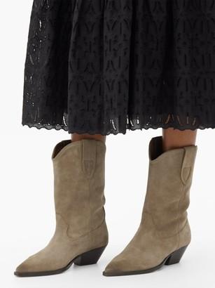 Isabel Marant Duerto Suede Western Boots - Beige