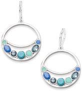 Nine West Silver-Tone Blue Stone Orbital Earrings