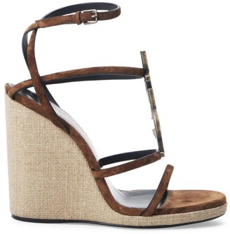 Saint Laurent Cassandra Leather Espadrille Wedge Sandals