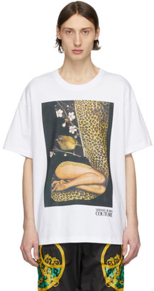 Versace White Rosa Burgess Edition Print T-Shirt