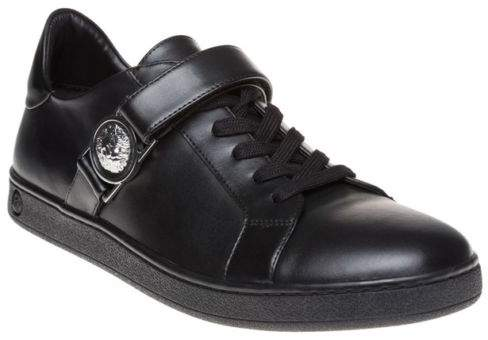 Versus New Mens Black Side Strap Cup Sole Leather Trainers Court Lace Up