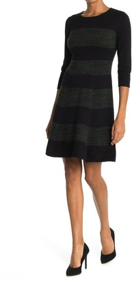 T Tahari Crew Neck Fit and Flare Dress