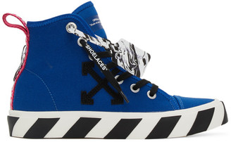 Off-White Blue and Black Vulcanized Mid-Top Sneakers