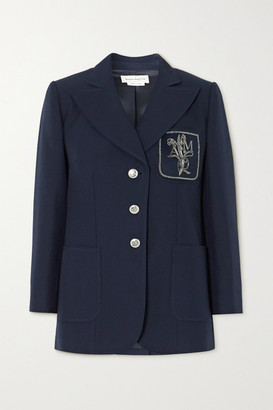 Alexander McQueen Embellished Appliqued Cotton Blazer - Navy