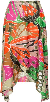 Paule Ka Butterfly Print Asymmetric Skirt