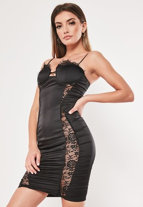 Missguided Black Satin Lace Bust Cup Bodycon Mini Dress