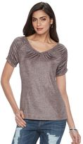 JLO by Jennifer Lopez Women's Metallic Ruched Tee