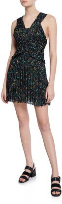 Derek Lam 10 Crosby Printed Sleeveless Ruched Pleated Mini Dress