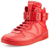Moschino Men's Leather High-Top Sneaker w/Logo Lettering
