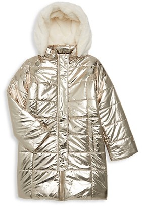 Imoga Little Girl's Girl's Vicky Metallic Faux Fur Coat