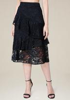 Bebe Wrap Ruffle Midi Skirt