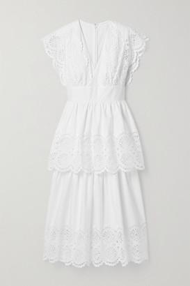 Lela Rose Tiered Broderie Anglaise Cotton-blend Poplin Midi Dress - White