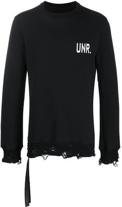 Unravel Project Logo-Print Distressed Sweatshirt