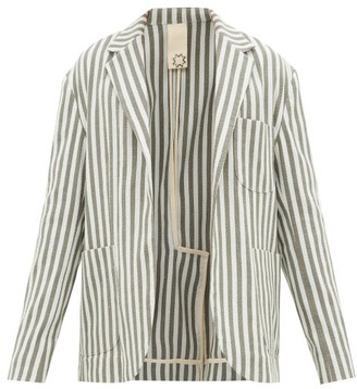 Marrakshi Life - Single-breasted Striped Cotton-blend Blazer - Green Multi