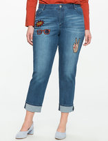 ELOQUII Plus Size Studio Cuffed Jean with Patches