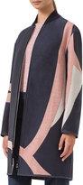 Akris Punto Coastal Chart Linen Jacquard Coat, Denim/Multi