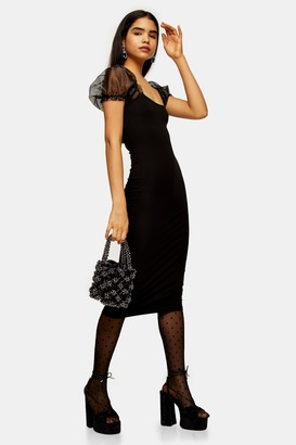 Topshop Womens Black Organza Sleeve Bodycon Midi Dress - Black
